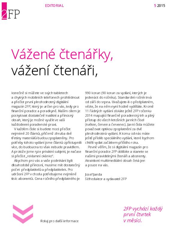 Editorial květnového čísla 2FP
